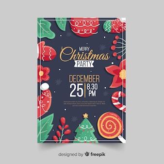 Plantilla de volante de fiesta de navidad dibujado a mano
