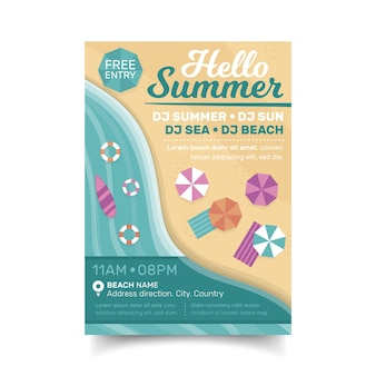 Plantilla de volante de fiesta de playa de verano