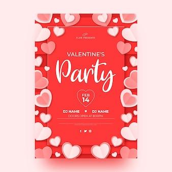 Plantilla de volante de fiesta de san valentín en estilo papel