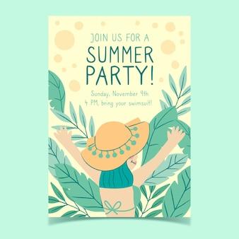Plantilla de volante de fiesta de verano dibujado a mano