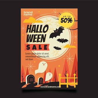 Plantilla de volante de fiesta vertical de halloween plana