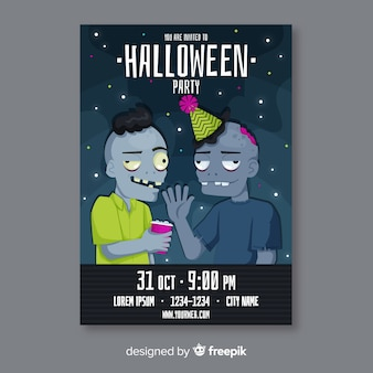 Plantilla de volante de fiesta de zombie con sombreros de halloween