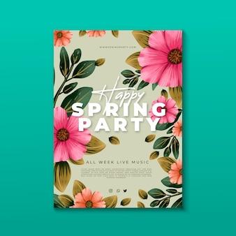Plantilla de volante floral de fiesta de primavera en acuarela