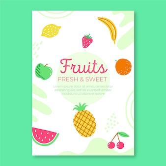 Plantilla de volante de frutas frescas
