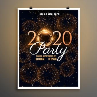 Plantilla de volante de fuegos artificiales de fiesta de año nuevo 2020