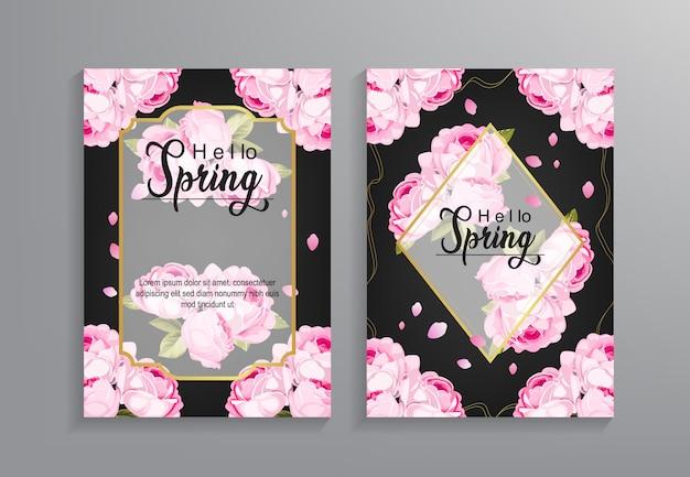 Plantilla de volante hola primavera con patrón de flores