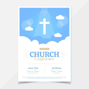 Plantilla de volante de iglesia de diseño plano