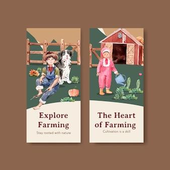 Plantilla de volante con ilustración acuarela de diseño de concepto orgánico de granja.
