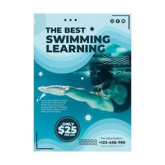 Plantilla de volante de lección de natación