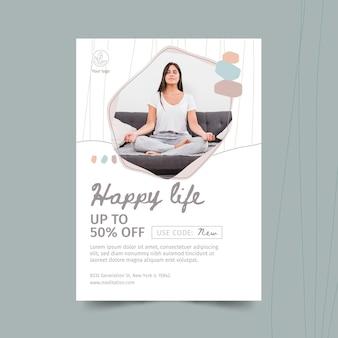 Plantilla de volante de meditación y atención plena