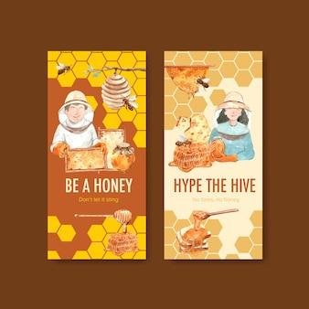 Plantilla de volante con miel para folletos y folletos acuarela