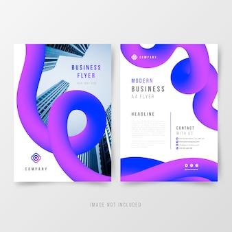 Plantilla de volante de negocio abstracto con formas fluidas