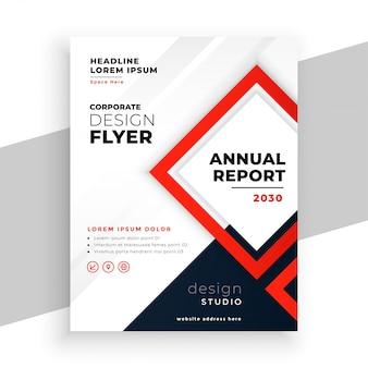 Plantilla de volante de negocios de informe anual moderno rojo geométrico
