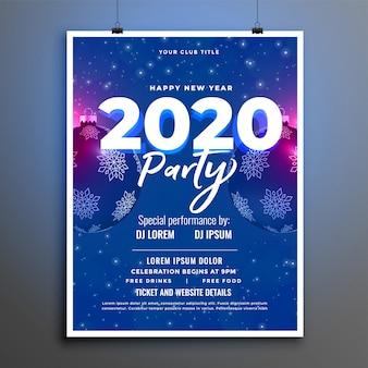 Plantilla de volante o cartel de año nuevo de celebración de fiesta azul 2020