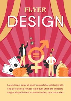 Plantilla de volante plano aislado de igualdad salarial de género en negocios