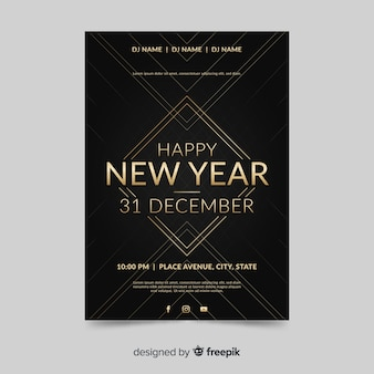 Plantilla de volante plano fiesta año nuevo 2020