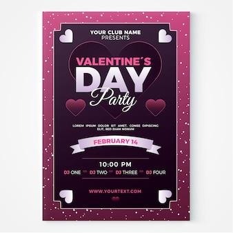 Plantilla de volante / póster para la fiesta del día de san valentín