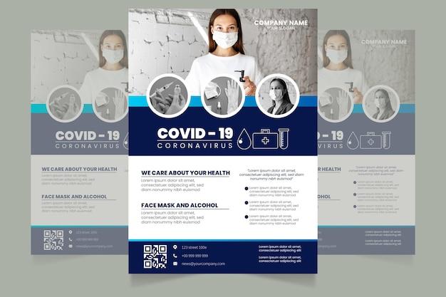 Plantilla de volante de productos médicos de coronavirus de diseño plano con foto