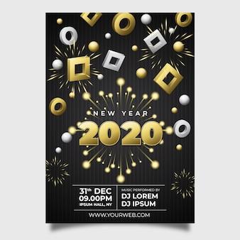 Plantilla de volante realista año nuevo 2020