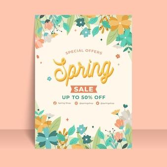 Plantilla de volante de rebajas de primavera floral dibujado a mano