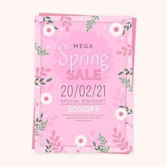 Plantilla de volante de rebajas de primavera plana con flores