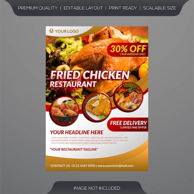 Plantilla de volante de restaurante de pollo frito