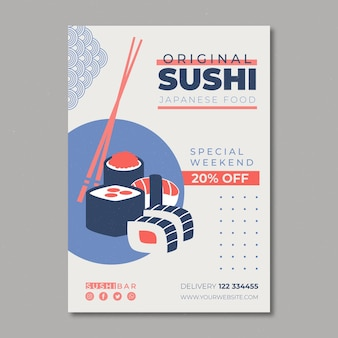 Plantilla de volante para restaurante de sushi