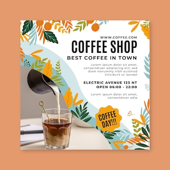 Plantilla de volante tropical cuadrado café