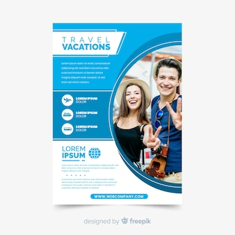 Plantilla de volante de vacaciones de viaje con foto