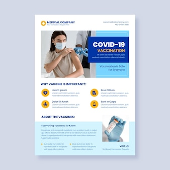 Plantilla de volante de vacunación de coronavirus plano