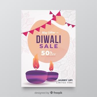 Plantilla de volante de venta de diwali de diseño plano