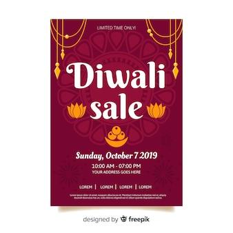 Plantilla de volante de venta de diwali en estilo de diseño plano