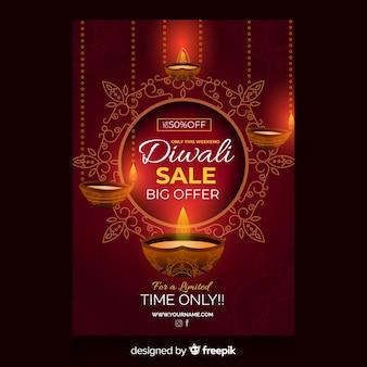 Plantilla de volante de venta diwali plana y velas