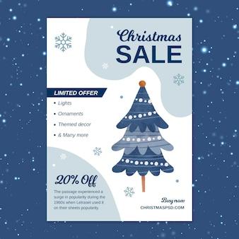 Plantilla de volante de venta de navidad vertical con árbol