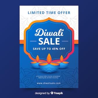 Plantilla de volante de venta plana de diwali en tonos azules con velas