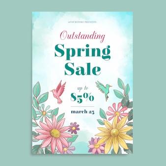 Plantilla de volante de venta de primavera acuarela