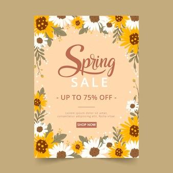 Plantilla de volante de venta de primavera dibujado a mano