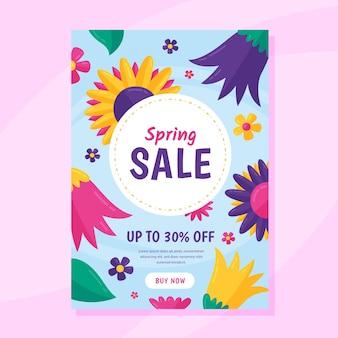Plantilla de volante de venta de primavera de diseño plano