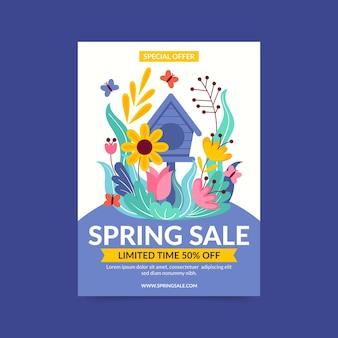 Plantilla de volante de venta de primavera plana