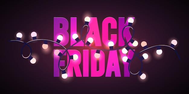 Plantilla de volante de venta de viernes negro luces rosas