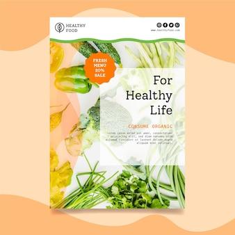Plantilla de volante vertical de alimentos bio y saludables