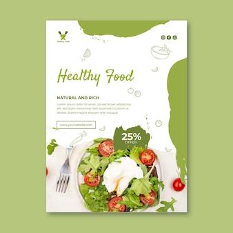 Plantilla de volante vertical de alimentos biológicos y saludables