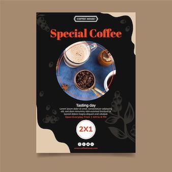 Plantilla de volante vertical de café especial