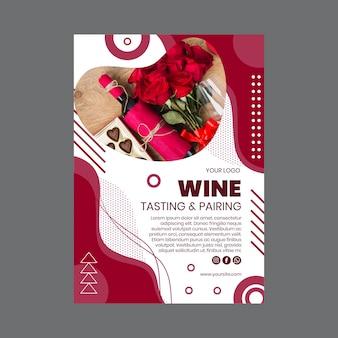 Plantilla de volante vertical de cata de vinos