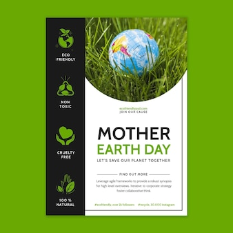 Plantilla de volante vertical para la celebración del día de la madre tierra