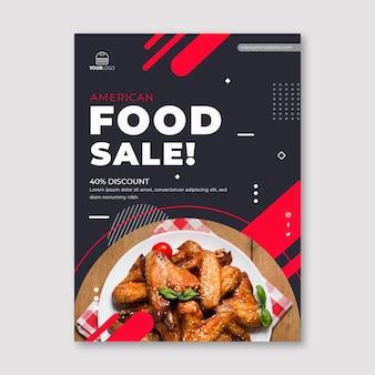 Plantilla de volante vertical de comida americana