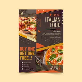 Plantilla de volante vertical de comida italiana