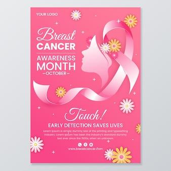 Plantilla de volante vertical degradado del día internacional contra el cáncer de mama