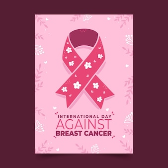 Plantilla de volante vertical del día internacional plano dibujado a mano contra el cáncer de mama