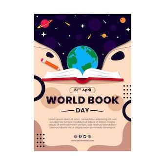 Plantilla de volante vertical del día mundial del libro